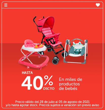 Hasta 40% dscto en miles de productos de bebés