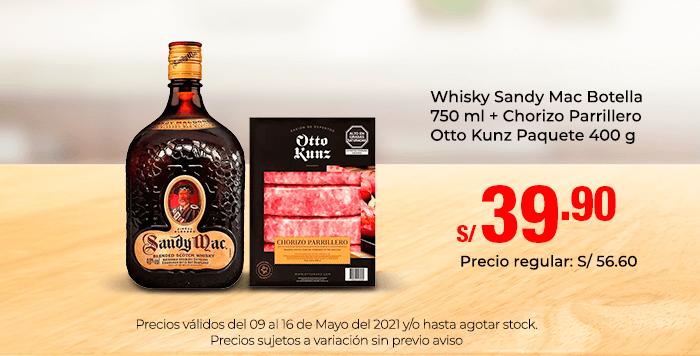 Whisky Sandy Mac Botella 750 ml + Chorizo Parrillero Otto Kunz Paquete 400 g