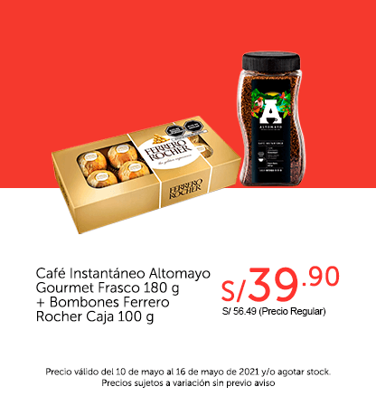 Café Instantáneo Altomayo Gourmet Frasco 180 g + Bombones Ferrero Rocher Caja 100 g