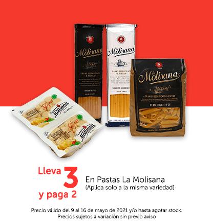 Lleva 3 y Paga 2 en Pastas La Molisana (Aplica solo a la misma variedad)