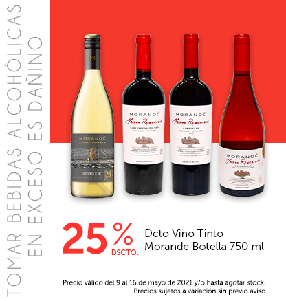 25% Dcto Vino Tinto Morande Botella 750 ml
