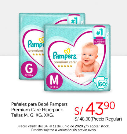 Pañales para Bebé Pampers Premium Care Hiperpack. Tallas M, G, XG, XXG.