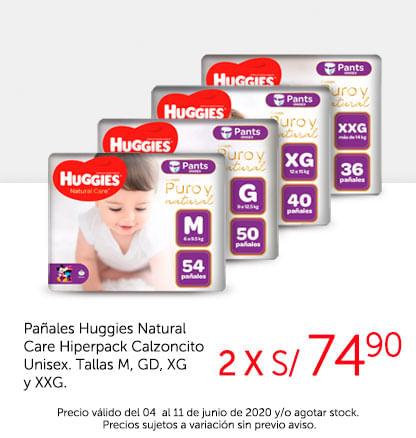 Pañales Huggies Natural Care Hiperpack Calzoncito Unisex. Tallas M, GD, XG, XXG.