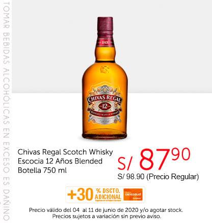 Chivas Regal Scotch Whisky Escocia 12 Años Blended Botella 750 ml
