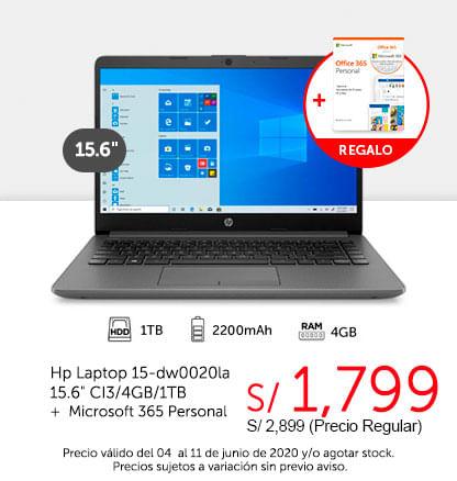 Hp Laptop 15-dw0020la 15.6