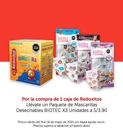 Por la compra de 1 caja de Redoxitos.Llévate un Paquete de Mascarillas Desechables BIOTEC X3 Unidades a S/3.90