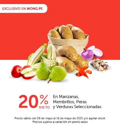 20% Dscto. En Manzanas, Membrillos, Peras y Verduras Seleccionadas