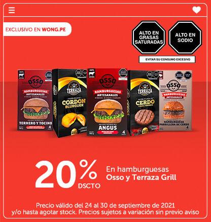 20% Dscto. en hamburguesas Osso y Terraza Grill
