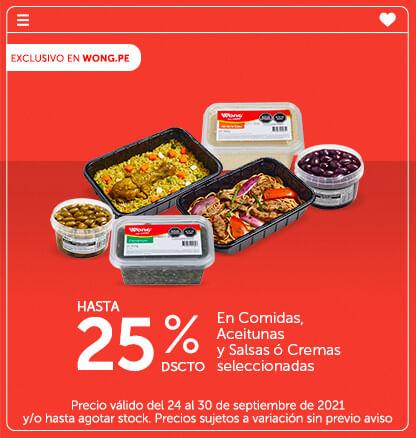 Hasta 25% Dscto. En Comidas, Aceitunas y Salsas ó Cremas seleccionadas