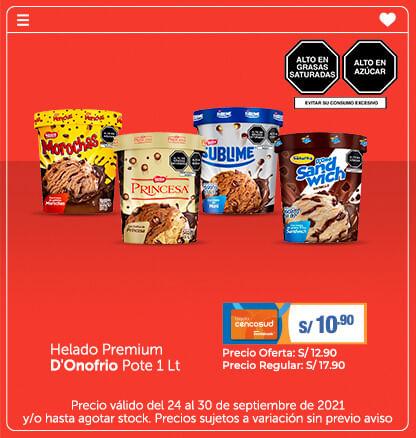 Helado Premium D'Onofrio Pote 1 Lt