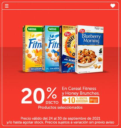 20% Dscto. en Cereal Fitness y Honey Brunches. Productos seleccionados