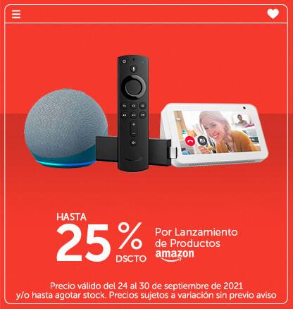 Hasta 25% de dscto por Lanzamiento de Productos Amazon (Poner logo de amazon)