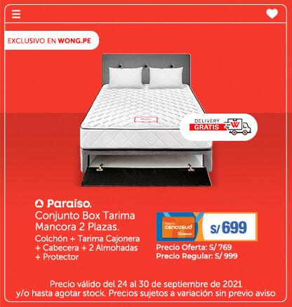 Conjunto Box Tarima Mancora 2 Plazas. Colchón + Tarima Cajonera + Cabecera + 2 Almohadas + Protector  (Logo Pariso) (Delivery Gratis)