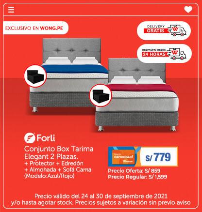 Conjunto Box Tarima Elegant 2 Plazas.    Protector   Edredón   Almohada   Sofá Cama (Modelo:Azul/Rojo)  (Delivery Gratis)