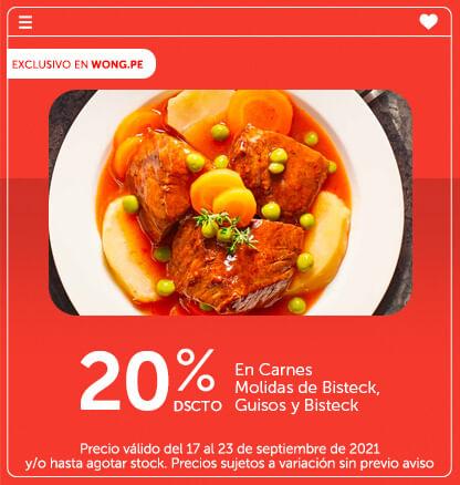 20% Dscto. en Carnes Molidas de Bisteck, Guisos y Bisteck