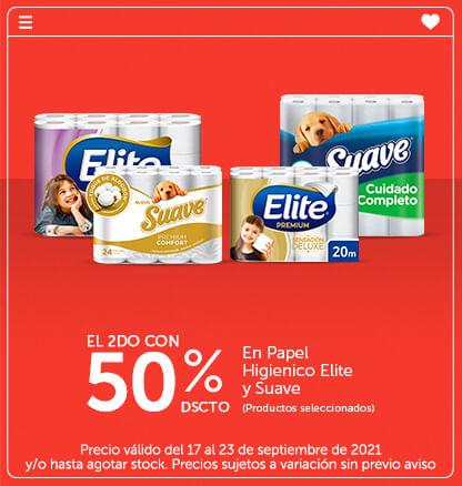 El 2do con 50% dscto en Papel Higienico Elite y Suave productos seleccionados