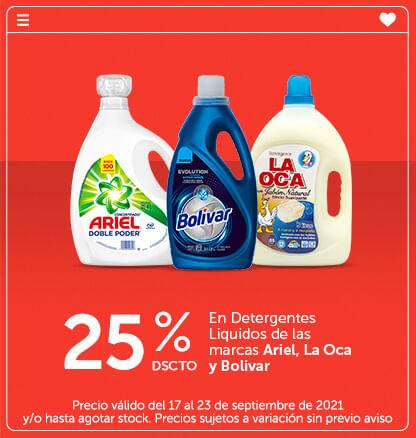 25% Dscto en Detergentes Liquidos de las marcas Ariel, La Oca y Bolivar