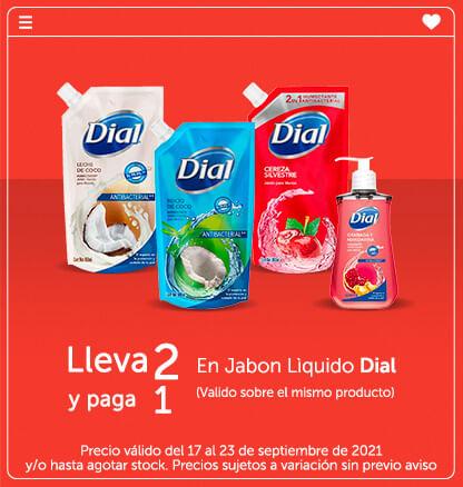 Lleva 2 y Paga 1 en Jabon Lìquido Dial (Valido sobre el mismo producto)