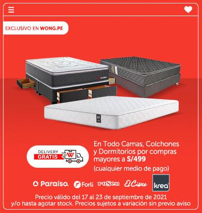 Delivery Gratis! en Todo Camas, Colchones y Dormitorios por compras mayores a S/499 (cualquier medio de pago) (Logo: Paraiso, Forli, Rosen, El Cisne, Krea)