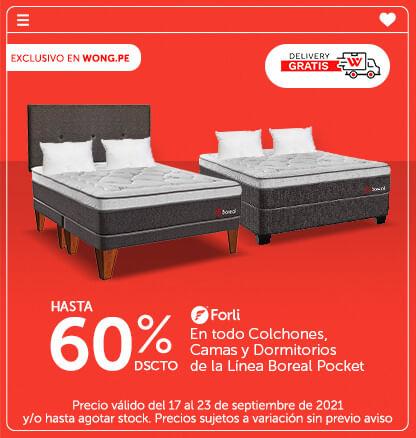 Delivery Gratis! Hasta el 60% en todo Colchones, Cama y Dormitorio de la Línea Boreal Pocket (Logo Forli) (Poner 2 Almohadas sobre el Colchon)
