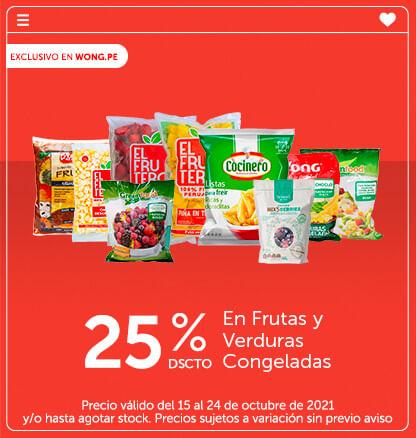 25% Dscto. En Frutas y Verduras Congeladas
