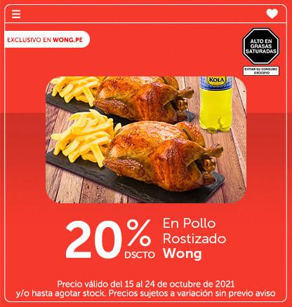 20% Dscto. En Pollo Rostizado Wong