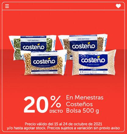 20% Dcto E n Menestras Costeños Bolsa 500 g