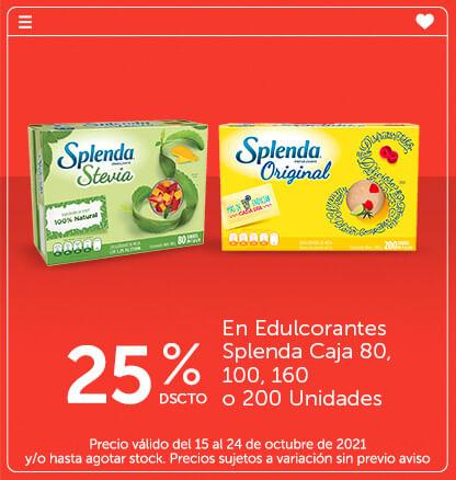 25% Dcto En Edulcorantes Splenda Caja 80, 100, 160 o 200 Unidades