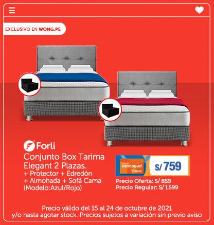 Conjunto Box Tarima Elegant 2 Plazas.  + Protector + Edredón + Almohada + Sofá Cama (Modelo:Azul/Rojo) ( logo de Forli)