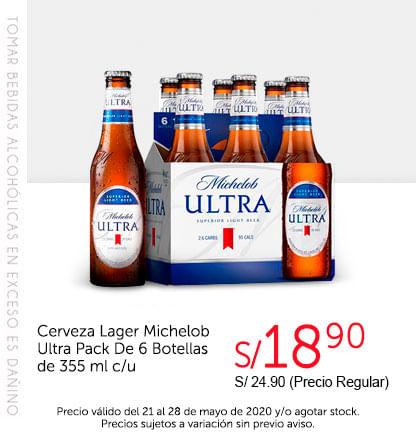 Cerveza Lager Michelob Ultra Pack De 6 Botellas de 355 ml c/u
