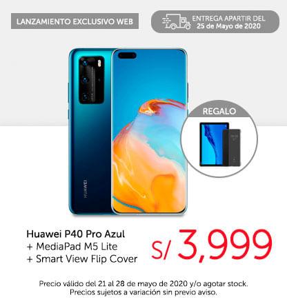 Huawei P40 Pro Azul + MediaPad M5 Lite + Smart View Flip Cover