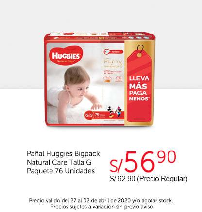 Oferta Pañal Huggies Bigpack Natural Care TG 76unid