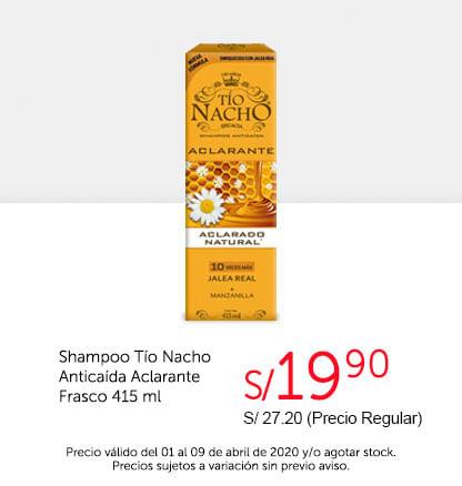 Oferta Shampoo Tío Nacho Anticaída Aclarante Frasco 415ml