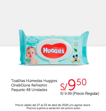 Oferta Toallitas Húmedas Huggies One&Done 48unid