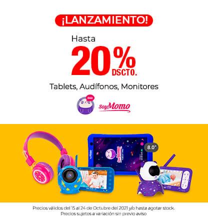 Lanzamiento Tablets, Audífonos, Monitores SOYMOMO, Hasta 20% de descuento