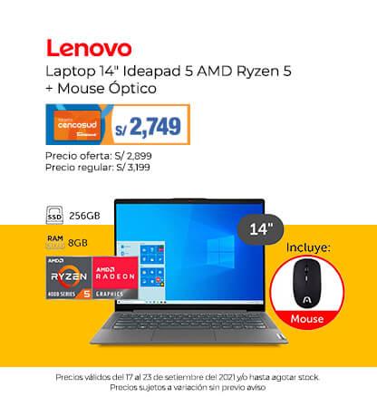 Lenovo Laptop 14 Ideapad 5 AMD Ryzen 5 + Mouse Óptico