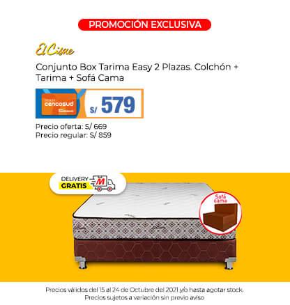 Conjunto Box Tarima Easy 2 Plazas. Colchón + Tarima + Sofá Cama  (Logo El Cisne) (Delivery Gratis)