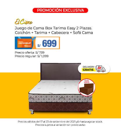 Juego de Cama Box Tarima Easy 2 Plazas. Colchón + Tarima + Cabecera + Sofá Cama (Logo El Cisne) (Delivery Gratis)