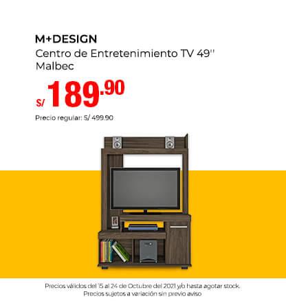 M+Design Centro de Entretenimiento TV 49 Malbec