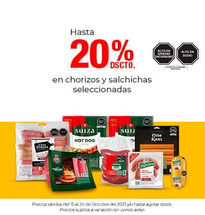 Hasta 20% Dscto En Chorizos y Salchichas Seleccionadas