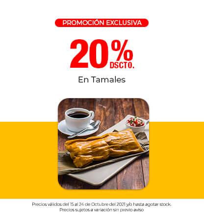 20% Dscto. En Tamales