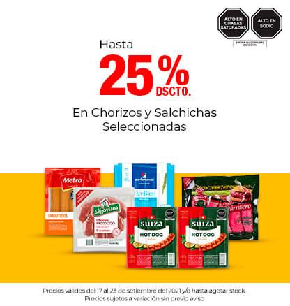 Hasta 25% Dscto. En Chorizos y Salchichas Seleccionadas