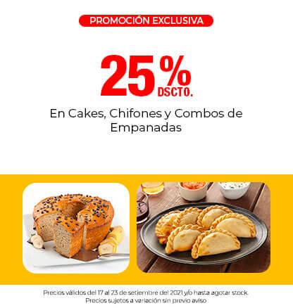 25% Dscto. En Cakes, Chifones y Combos de Empanadas