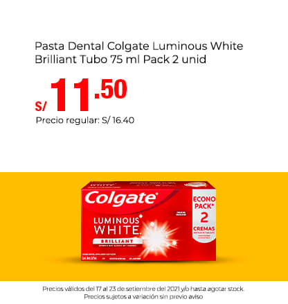 Pasta Dental Colgate Luminous White Brilliant Tubo 75 ml Pack 2 unid