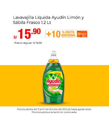 Lavavajilla Líquida Ayudín Limón y Sábila Frasco 1.2 Lt