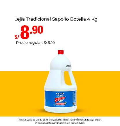 Lejía Tradicional Sapolio Botella 4 Kg