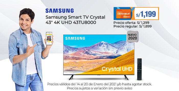 Samsung Smart TV Crystal 43 4K UHD 43TU8000