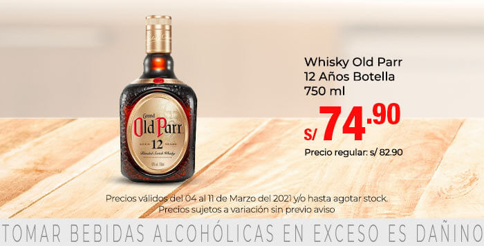 Whisky Old Parr 12 Años Botella 750 ml