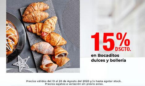 15% de Dscto en Bocaditos dulces y bollería
