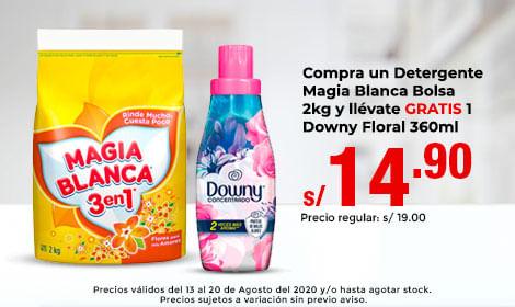 Compra un Detergente Magia Blanca Bolsa 2kg y llévate GRATIS 1 Downy Floral 360ml